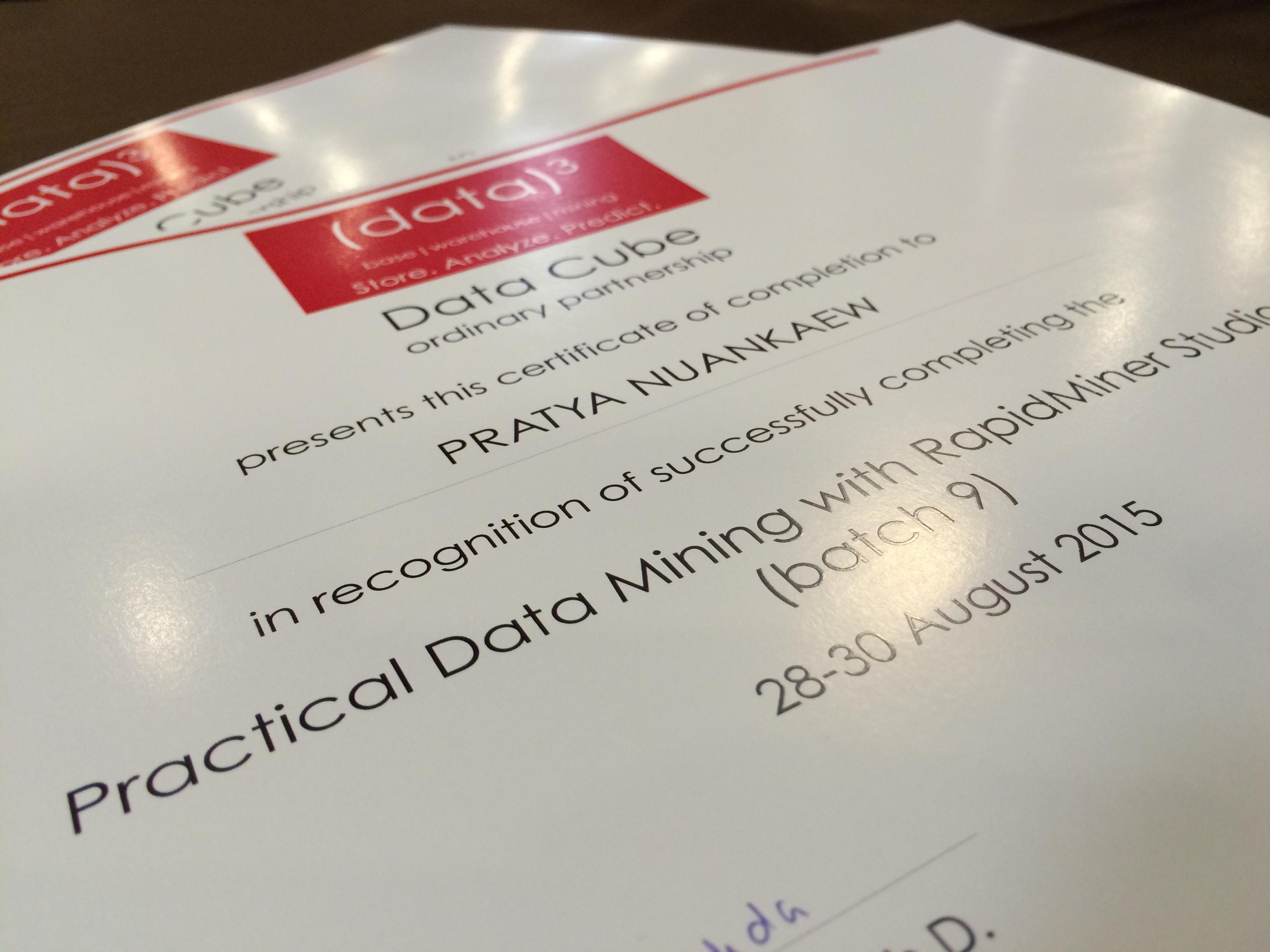 Certification Pratya Nuankaew